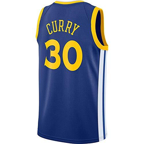 RAAVIN Stephen Curry #30, La Maglia da Basket, Golden State Warriors, Nuovo Tessuto Ricamato, Stile Sportivo,Blu(L)