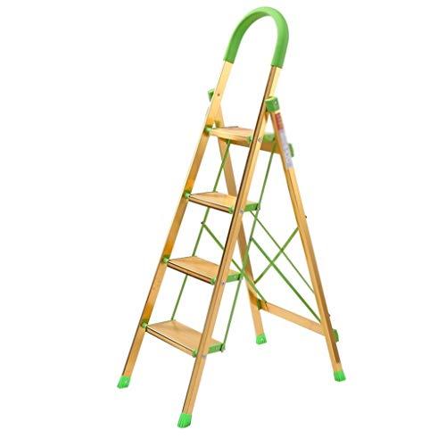 CML Home Escaleras Interior del hogar y al Aire Libre densamente aleación de Aluminio Escalera Plegable Antideslizante de múltiples Funciones del hogar escaleras, Amarillo