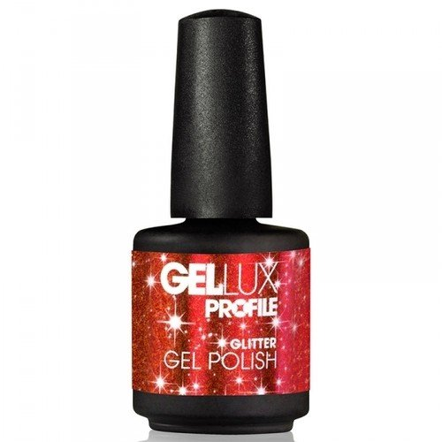 Salon System Gellux gel-nagellak, rood Hot Ruby (Glitter), 15 ml