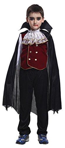 Déguisement Vampire Garçon Costume Halloween Cosplay Déguisement Comte Enfant Gothique Carnaval Soirée (10-12 ans)