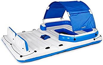 Bestway CoolerZ Tropical Breeze Floating Island Raft   Giant Inflatable Pool Float For Adults   Includes Canopy, Cupholders, & Cooler Bag   Lounge Fitsup to 6 People   Great For Pool, Lake, River, OC