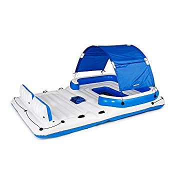 Bestway Hydro Force Tropical Breeze Floating Island Raft | Giant Inflatable Pool Float for Adults | Includes Canopy Cupholders & Cooler Bag | Lounge Fits Up to 6 People | Great for Pool Lake River