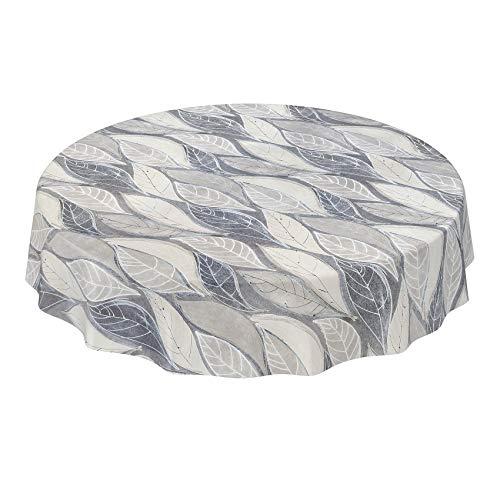 ANRO Mantel de hule lavable, mantel de hule encerado con diseño de hojas, gris, moderno, redondo, 140 cm