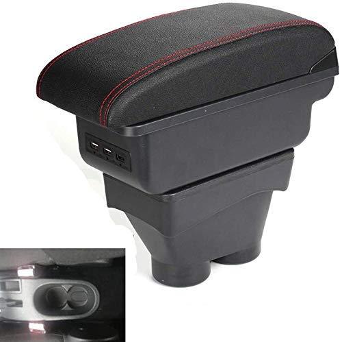 DGDD BoîTe D'Accoudoir De Voiture pour Peugeot 207, Repose-Bras en Cuir Noire Couche Double BoîTe De Rangement De Console Centrale avec Porte-Gobelet Cendrier Amovible Chargement USB Accessoires