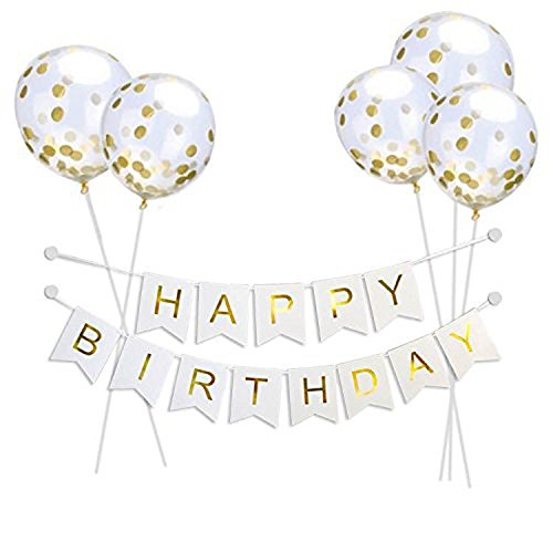 VANVENE Willaire Happy Birthday Banner &5 Pieces Gold Confetti Balloons Party Balloons with Golden Paper Confetti Dots for Birthday Party Decorations Wedding Decorations and Proposal