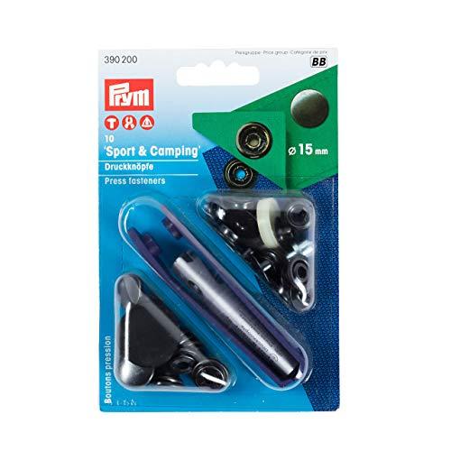 Prym 390200 Nähfrei-Druckknopf Sport & Camping Messing 15 mm brüniert, Metal