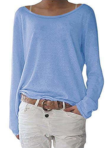 ZANZEA Damen Langarm Lose Bluse Hemd Shirt Oversize Sweatshirt Oberteil Tops Himmelblau Large