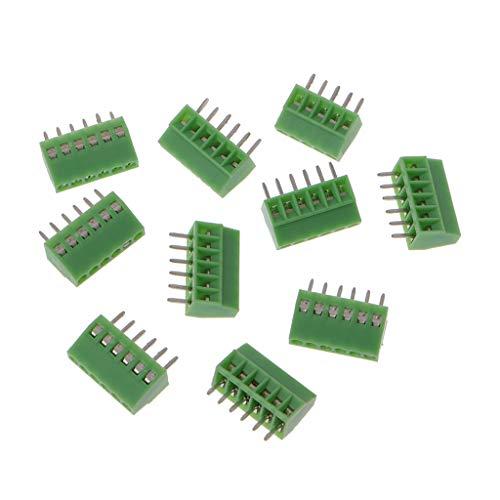 JOYKK 10 Stücke 6Pin Screw Leiterplattenmontierte Anschlussblöcke Connector 2.54mm Pitch - Green