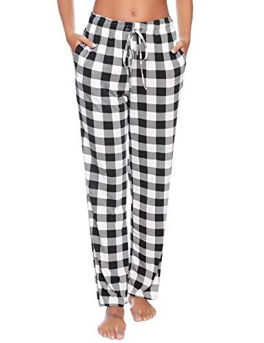 Vlazom Pantalones de Pijama a Cuadros para Mujer, Largos Pantalones Casual de con Bolsillos para Ropa de Dormir S-XXL