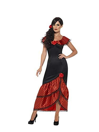 Smiffys Vuxen Flamenco Senorita kostym, klänning och huvudbonad, runt om i världen, seriöst kul, plus storlek X1, 45514