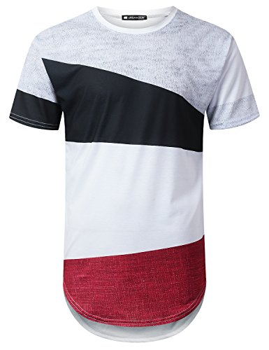 URBANTOPS Mens Hipster Hip Hop Casual Colorblock Longline T-Shirt White, XL