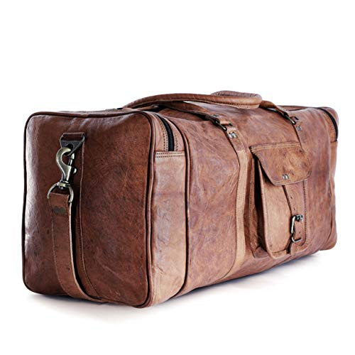 Leather duffle bags large 24 Inch Square Duffel Travel Gym Sports Overnight Weekender Leather Bag...