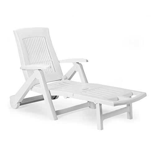 Mojawo Liege mit hohem Liege- + Sitzkomfort Sonnenliege Gartenliege Relaxliege Saunaliege Kunststoff Weiß 195x72x101cm