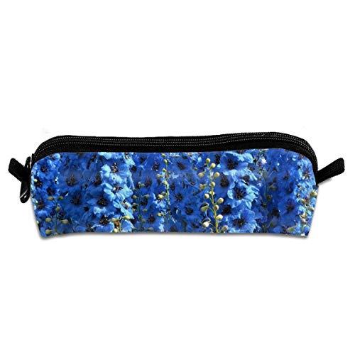 Delphinium blu adorabile Astuccio per studenti Astuccio per penna Astuccio per cancelleria con cerniera Astuccio per monete Piccola borsa per trucco cosmetico per ufficio scolastico
