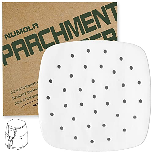 Numola Air Fryer Liners - 7.5 Inches, 100 pcs Perforated Parchment Paper, Square Bamboo Steamer Paper Compatible with Philips, Cozyna, Secura, NuWave, Chefman, GoWISE USA, BLACK+DECKER, COSORI