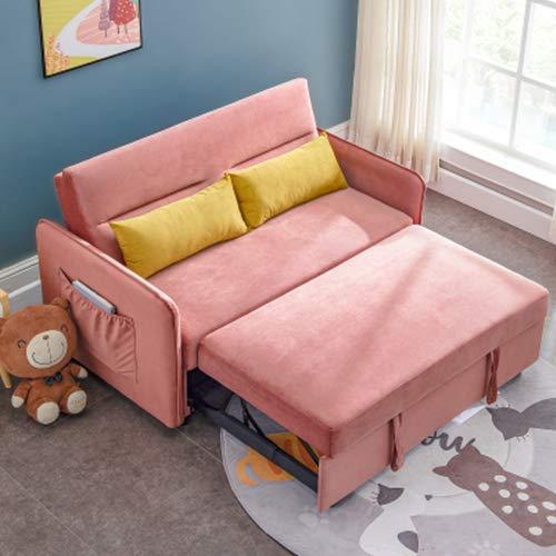 Merax Sleeper Sofa Couch Compact Soft Velvet Sofa Bed Pull-Out Sleeper Sofa 2 in 1 Sofa Bed (with 2 Lumbar Pillow),Pink