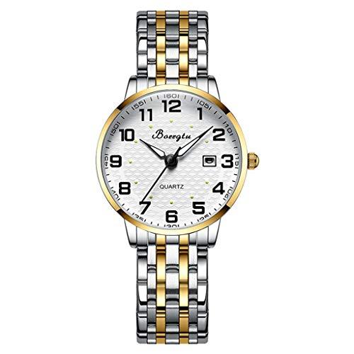 Lvmiao Reloj de Banda de Relojes elásticos de Mediana Edad y Ancianos, Reloj de Banda de Reloj de Primavera, Reloj de marcación Digital Grande, Regalo de Reloj Luminoso para Ancianos,10
