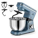 MURENKING Stand Mixer, 5-Qt 6-Speed Dough Mixer, 500W Tilt-Head Kitchen Mixer (Dough Hook and Beater with Teflon, Whisk) (Blue Gray)