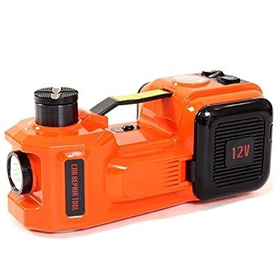 12V DC 5 Ton Electric Hydraulic Floor Jack Set Tire Inflator Pump LED Flashlight 3 in 1 Set with Safe Hammer Electric Car Jack