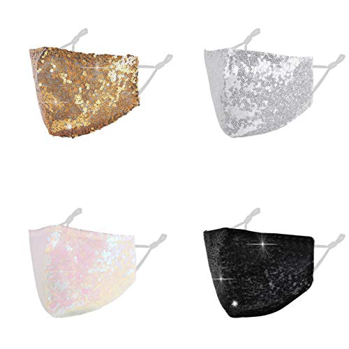 Sparkly Sequin Bling Face Mask Rhinestone Glitter For Women,Diamond Bride Crystal Pretty Fabric Party Mesh Decorative Party Cover Designer Cotton Reusable Shiny Nightclub Stylish Grey Light Gold