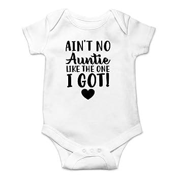 Ain t No Auntie Like - My Aunt is The Best - Funny Cute Infant Boy Girl Romper One-Piece Bodysuit - By Funnwear  White Newborn