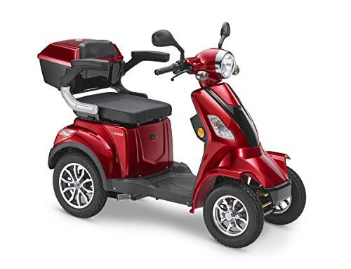 Elektroroller LuXXon E4800 - Elektromobil für Senioren mit 1000 Watt, max. 20 km/h, Reichweite bis zu 55 km, weinrot