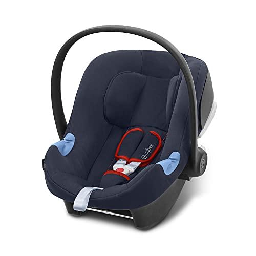 CYBEX Silver Babyschale Aton B i-Size, Inkl. Neugeboreneneinlage, Ab Geburt bis ca. 24 Monate, 45 bis 87 cm, Max. 13 kg, Für Autos mit und ohne ISOFIX, Bay Blue