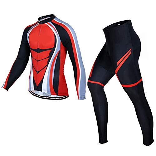 Pro Vêtement Cycliste, Maillot de Cyclisme Pro Team Raudax Vélo de Route Vêtements de Cyclisme D'Hiver, Pantalon À Bretelles de Cyclisme Vtt, Polaire Thermique Ropa Ciclismo Pour Homme-Rouge_XS