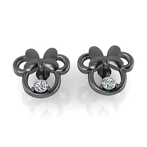 Jbr Child's Twinkle Minnie Mouse Stud Earrings in 925 Sterling Silver Insect Ear Climbers for women Teen Girls with CZ Stone Mothers's Day Anniversary Festival Gift