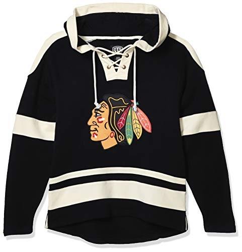 OTS NHL Chicago Blackhawks Men's Grant Lace Up Pullover Hoodie, Alternate Logo, Large