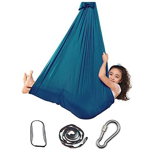 Silla Swing Sensor, Hamaca Elástica Interior para Niños o Adultos Terapia Autismo de Cuerda de Árbol de Yoga, Azul Camping Al Aire Libre || 59inx110in (Color : 39inx110in, Size : Dark Green)