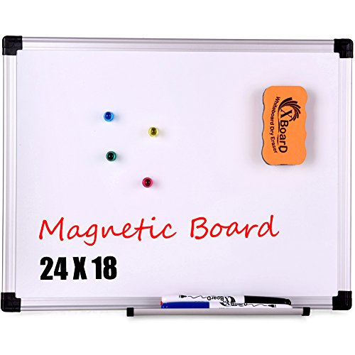 XBoard Magnetic Whiteboard / Dry Erase Board, 24 x 18 Inch Double Sided White Board with 1 Detachable Marker Tray, 1 Dry Eraser, 3 Dry Erase Markers and 4 Magnets for Home, Office and School