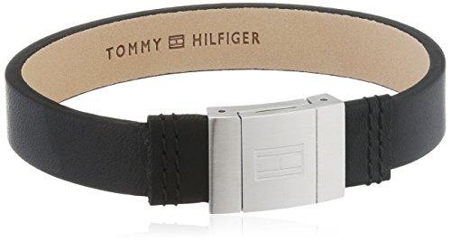 Tommy Hilfiger Pulsera para hombre de acero inoxidable y piel, 21,5 cm - 2700950