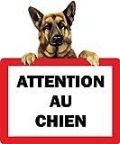 Akachafactory Autocollant Sticker Portail Porte Attention au Chien Berger Allemand Panneau