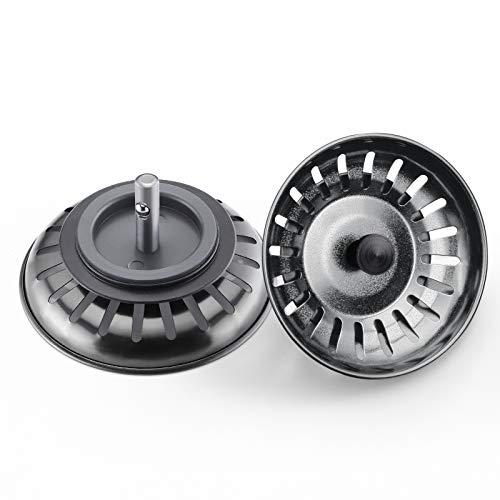 Lonheo-2 piezas de tapón de fregadero de acero inoxidable - cesta de colador universal tapón negra de fregadero de la cocina