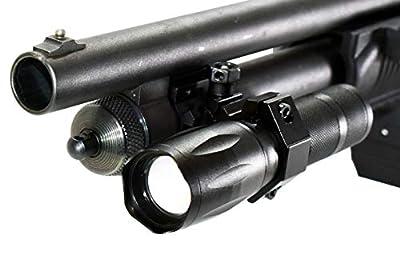 Trinity 1000 Lumen led Flashlight for Remington 870 12ga Pump Home Defense Tactical Hunting Optics Aluminum Black Picatinny Weaver Mounted Adapter Single Rail Mount.