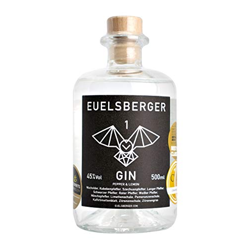 Euelsberger Gin 45% Vol, Dry Gin mit erfrischender Kräuter & Zitrusnote, 500ml