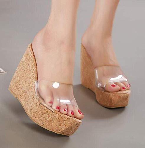 WXDP Pantuflas cálidas, sandalias clásicas de moda, pendientes transparentes con una sola palabra para mujer, sandalias de tacón alto, pegamento de madera, sandalias de ducha antideslizantes ggsm
