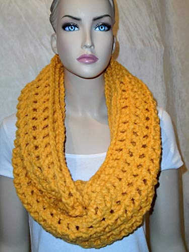 Large discharge sale Yellow Crochet Infinity Chunky In Surprise price Scarf