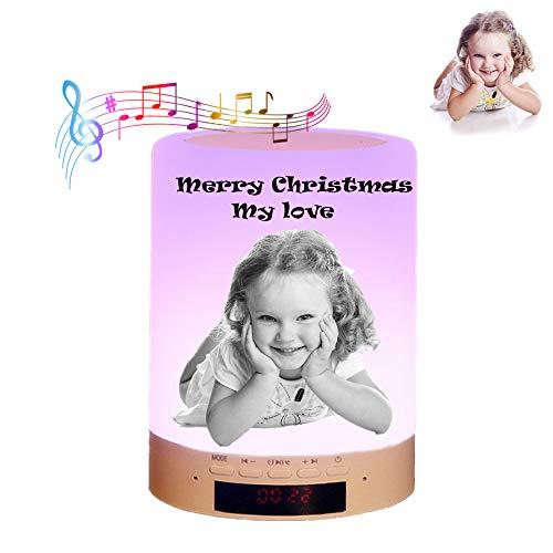 Luz de foto personalizada Lámpara de sobremesa multicolor con altavoz Bluetooth luz nocturna de color regulable, regalo para los niños amigos de la familia (black and white)