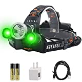 BORUiT RJ-3000 LED Green Headlamp - White & Green LED Hunting Headlight - USB Rechargeable & 3 Mode -Ultra Bright 5000 Lumens Tactical Head lamp for Running, Camping, Hiking & More
