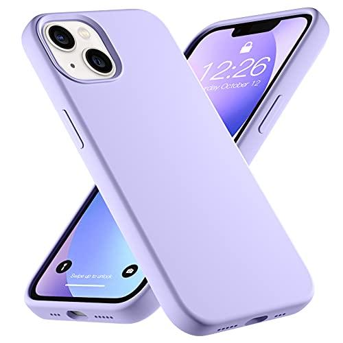 Upeak Liquid Silikon Hülle Kompatibel mit iPhone 13 Hülle 2021, 6.1 Zoll Anti-Schock Handyhülle DREI Schichten Komplette Schutzhülle Cover Bumper für Damen Herren, Helles Lila