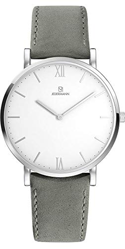 Herren Uhr Bauhaus-Stil Schweizer Uhrwerk Saphirglas weißes Ziffernblatt Gehäusedurchmesser 41mm Exklusives Lederarmband Helene JEDERMANN