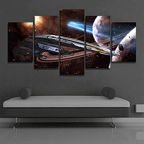 ThreU-Leinwanddrucke,5 Teiliges Wandbild,Mass Effect Normandy Sr-2 Spiel,5 Stück Leinwand,Modular Wandkunst,Brettmalerei,Home Dekoration, 100Cm×50Cm,Mit Rahmen