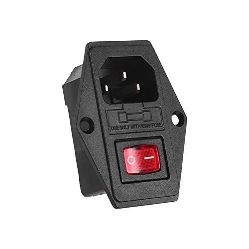 Fesjoy Inlet Module Plug Fuse Switch, Inlet Module Plug Fuse Switch Male Power Socket 10A 250V 3Pin for CR-10 Series Ender-3 3D Printer, 1pcs