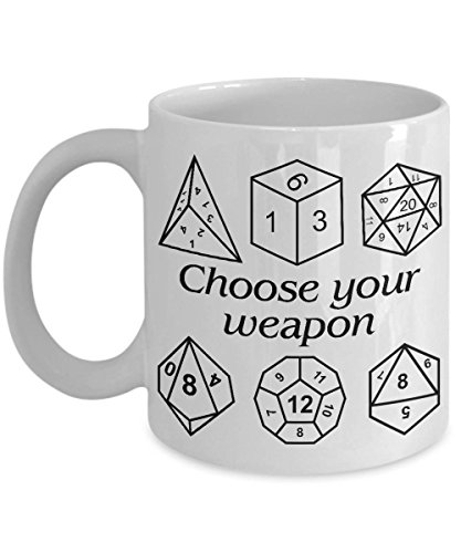 A Hobbit Coffee Mug | Choose Your Weapon D&D Dice Mug | Great Fantasy | Gift Dungeons And Dragon | Dungeon Master Gift | Dungeon And Dragon