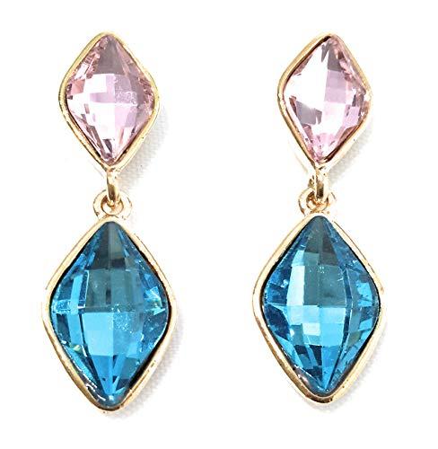 Pendientes Largos Mujer Bisutería Cristales de Colores Fiesta Boda Forma Lágrima Chapado Oro, Rosa Azul