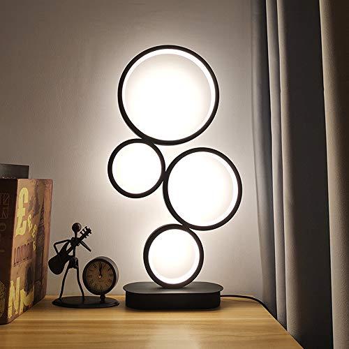 EVANMO Lámpara de mesa LED con cuatro círculos, de aluminio, 8 W, regulable, base de metal, perfecta para dormitorio, salón, color negro [clase energética A+]