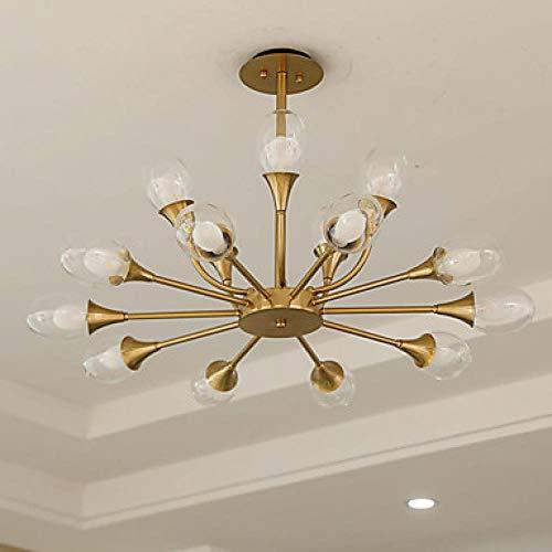 WEPAINTING - Lámpara de araña de metal (15 luces, 88 cm), diseño de vela