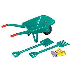 Theo Klein 2752 Set de jardinería con carretilla Bosch, Con pala, rastrillo y guantes de trabajo, Medidas: 70.5 cm x 34 cm x 33 cm, Juguete para niños a partir de 3 años